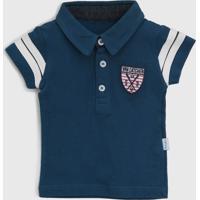 Camisa Polo Vrk Kids Infantil Brasão Azul