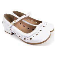 Sapato Feminino Branco Salto Grosso Bloco Confortável
