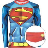 Conjunto Camiseta Manga Longa Com Proteção Solar Uv E Sunga Liga Da Justiça Super-Homem - Infantil - Azul/Vermelho
