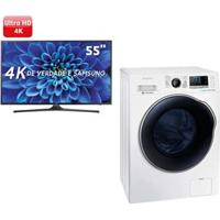 """Smart Tv Led 55"""" Ultra Hd 4K Samsung 55Ku6000 + Lavadora E Secadora De Roupas Samsung Wd10J6410Aw Branca - 10,2 Kg"""