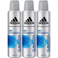 Kit Desodorante Adidas Climacool Aerosol Masculino 150Ml 3 Unidades - Masculino