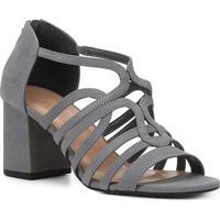 Sandália Couro Shoestock Nobuck Tiras Salto Médio Feminina - Feminino-Cinza