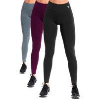 Kit Calça Legging High Unlimit Feminina - 3 Pçs - Feminino-Cinza+Vinho