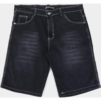 Bermuda Jeans Preston Plus Size Masculina - Masculino-Preto
