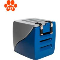 Caixa De Transporte Para Pet Happy Box Cinza E Azul