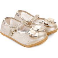 Sapato Infantil Pimpolho Renda Boneca Feminino - Feminino-Dourado