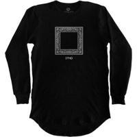 Camiseta Longline Stoned Manga Longa Bandana Masculina - Masculino-Preto