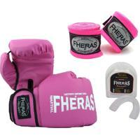 Kit Boxe Muay Thai Fheras New Trade Luva + Bandagem Trade Rosa 006