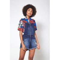 Jardineira Jeans Pespontos Jeans - Feminino-Azul