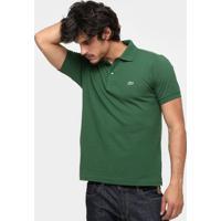 Camisa Polo Lacoste Original Fit Masculina - Masculino-Verde Militar