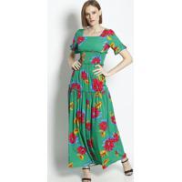 Vestido Longo Floral Com Elã¡Stico- Verde & Pink- Linlinho Fino