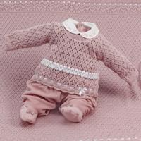 Saída De Maternidade Beth Bebê Tricô Plush Lauren Luxo Nude