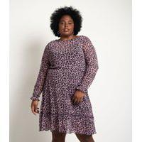 Vestido De Tule Animal Print Curve E Plus Size Roxo