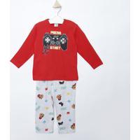 "Pijama ""Press Start""- Vermelho & Cinza Clarokyly"