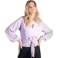 Blusa Crepe Amarração Punho Com Botões Pop Me Feminina - Feminino-Lilás