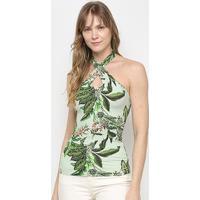 Blusa Colcci Tropical Frente Única Feminina - Feminino-Verde Claro