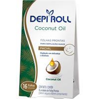 Depilador Depiroll Coconut Oil Cera Fria Facial Folhas Prontas Com 16 Unidades (8 Pares)