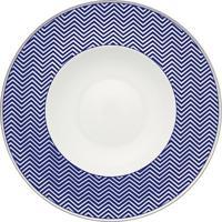 Prato Fundo Harvard Porcelana Unidade Branco E Azul Filete Prata Vista Alegre Atlantis