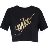 Blusa Cropped Nike Sportswear Glitter - Feminina - Preto/Ouro