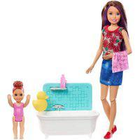 Barbie Skipper Babysitter Hora Do Banho Mechas Roxas -Mattel