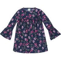 Vestido Floral Com Manga Sino- Azul Marinho & Rosa-Tpuc