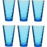 Jogo De Copos Em Vidro Azul Carisma Com 06 Peças 330Ml - Conjunto De Copos Trabalhado