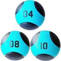 Kit 3 Medicine Ball Liveup Pro 4 8 E 10 Kg Bola De Peso Treino Funcional - Unissex