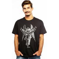 Camiseta Hardivision Anjo Manga Curta - Masculino-Preto