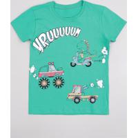 Camiseta Infantil Com Estampa De Carros Manga Curta Verde