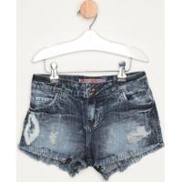 Short Jeans Estonado Com Destroyed- Azulcolcci