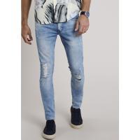 Calça Jeans Masculina Skinny Com Rasgos Azul Médio
