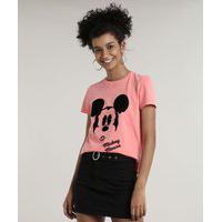 Blusa Feminina Mickey Manga Curta Decote Redondo Rosa