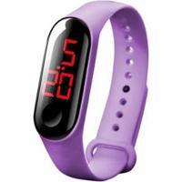 Relógio Pulseira Digital Led Bracelete - Feminino-Roxo