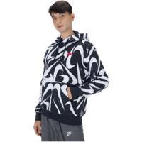 Blusão De Moletom Com Capuz Nike Hoodie Po Bb Aop 2 - Masculino - Preto/Branco