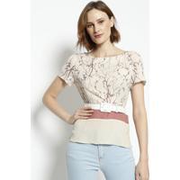 Blusa Floral Com Cintos- Bege & Rosa Claroenna