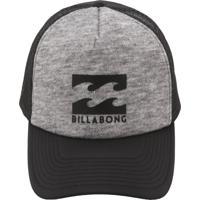 Boné Billabong Trucker Podium Cinza Preto 79ab097354d
