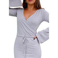 Vestido De Inverno Comfy Lãzinha Transpasse Manga Longa Flare Mescla Cinza