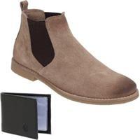 c57b188097812 Netshoes; Kit Botina Escrete Camurça Elástico Com Carteira Dia A Dia  Masculino - Masculino