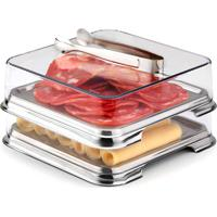Conjunto Porta Frios Inox 3 Peças - Forma Inox - Inox / Transparente