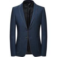 Blazer Masculino Contorno De Costura Lansboter - Azul Escuro