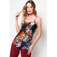 Blusa Floral Com Vazado - Preta & Laranja - Ahaaha