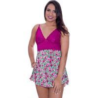 8431d482c82cda Camisola Sexy Dany Estilo Sedutor Estampada Em Liganete E Renda -  Feminino-Violeta