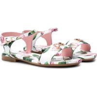 Dolce & Gabbana Kids Sandália Com Estampa De Rosas Tropicais - Branco