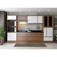 Conjunto Cozinha Nogueira 11 Módulos Marrom E Branco Com Tampo De Vidro Preto E Rodapé 14 Portas - Multimóveis