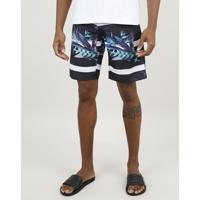 Bermuda Surf Masculina Listrada Com Folhagem Preta