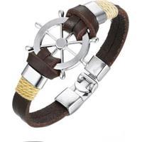 Bracelete Artestore Em Couro Pulseira Corda Timão Masculina - Masculino