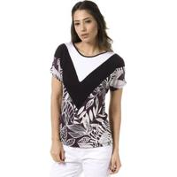 Blusa Bloom Estampada Mix De Tecidos - Feminino-Branco