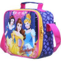 Lancheira Princesas®- Azul Escuro & Pink- 18X20X8Cm