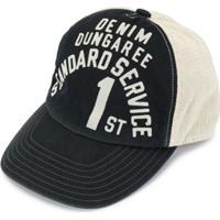 Denim Dungaree Boné Com Estampa De Logo - Preto
