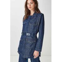 Trench Coat Mix Jeans Azul Denim